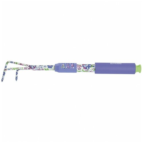 Рыхлитель 3-зубый, 60 x 430 мм, стальной, удлиненная рукоятка, Flower Mint Palisad