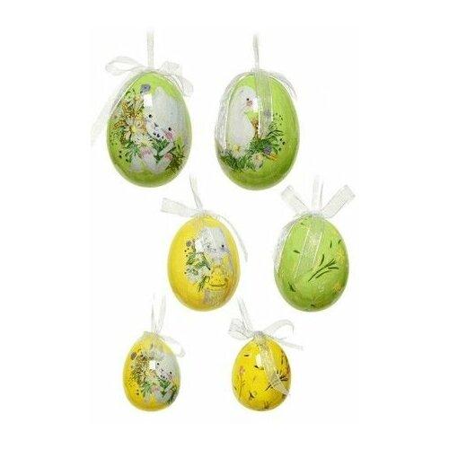 Декоративные пасхальные яйца кролики на лугу, фомиаран, 4-6 см (12 шт.), Kaemingk 803003