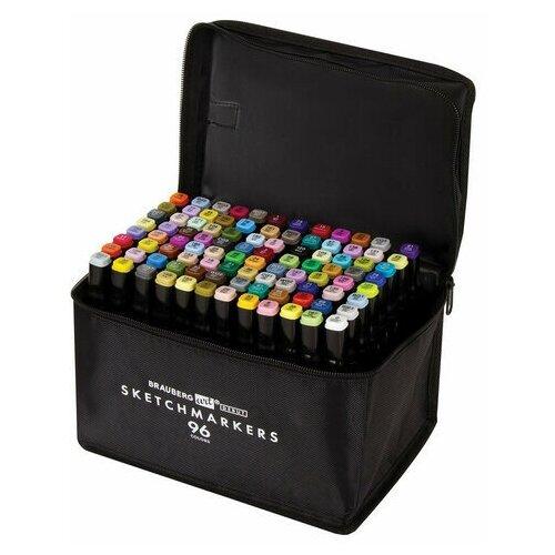 Купить Маркеры для скетчинга двусторонние BRAUBERG ART DEBUT BLACK , набор 96 шт., текстильный чехол, 152133, Фломастеры и маркеры