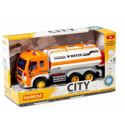 Купить Игрушка поливочный автомобиль инерционный Сити (со светом и звуком) (оранжевый), Полесье, Машинки и техника