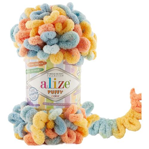 Пряжа Alize Puffy Color 100г, 9м (Ализе Пуффи Колор) цвет 6314-секционный, 1 шт.