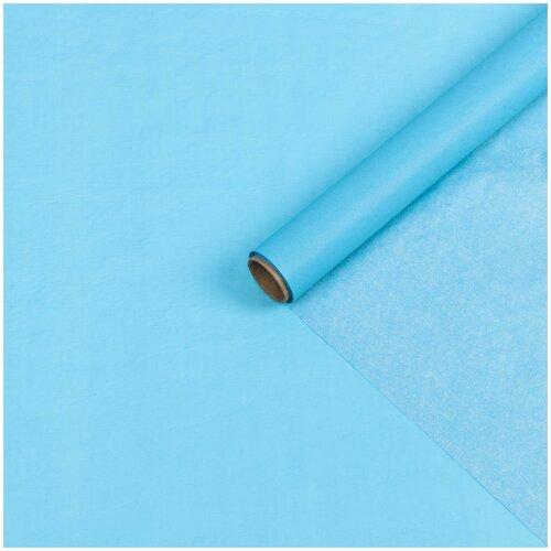 Бумага упаковочная тишью, голубая, 0,6 х 10 м