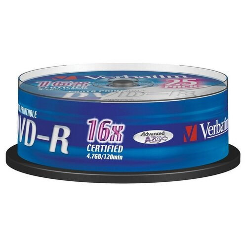 Фото - Носители информации DVD-R Printable, 16x, Verbatim Azo Wide, Cake/25, 43538 носители информации dvd r 16x verbatim azo matt silver cake 25 43500