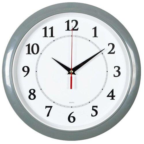 Часы настенные аналоговые Бюрократ WALLC-R89P, диаметр 29 см, серый/белый
