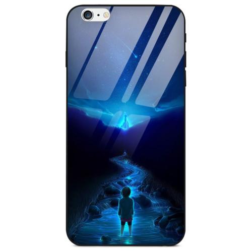 Силиконовый чехол-бампер MyPads для iPhone 6/ 6S 4.7 (Айфон 6 / 6С) с закаленным стеклом на заднюю крышку телефона тематика Лунная дорога