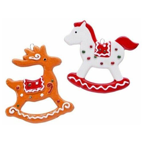 Набор ёлочных игрушек пряничная качалки, доломит, 8х9 см (2 шт.), Kaemingk