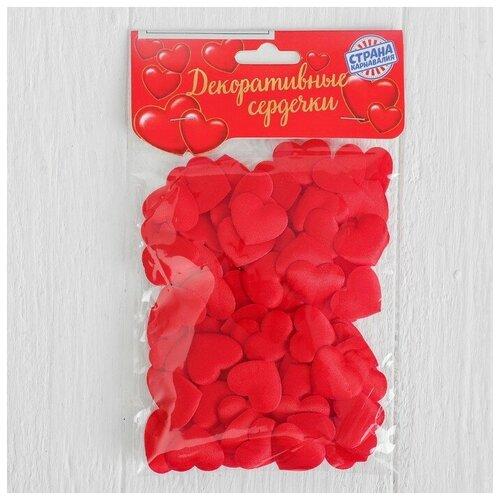 Страна Карнавалия Сердечки декоративные, набор 100 шт., 2 см, цвет красный страна карнавалия набор бумажной посуды с днем рождения маленький джентельмен 3877347 19 шт голубой