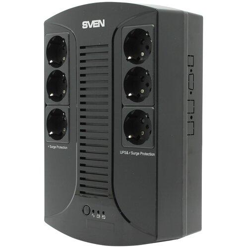 SVEN Источник бесперебойного питания SVEN UP-L1000E, с 6 выходными розетками (3 с питанием от батареи +3 сетевой фильтр)