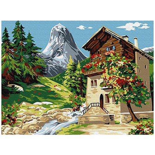 Купить Картина по номерам Цветной «Дом у горы» (холст на подрамнике, 30х40 см), Картины по номерам и контурам