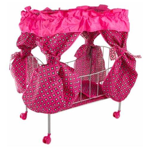 Фото - Кроватка для кукол с балдахином 8892B Buggy Boom Loona, темно-розовый с узором коляски для кукол buggy boom инфиниа 8459 2 в 1