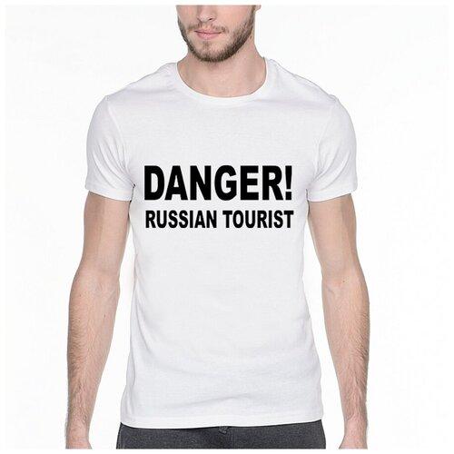 Фото - Футболка с надписью: Danger! Russian tourist. Цвет: белый. Размер: XS футболка laredoute с надписью i said oui wesley 0 xs белый