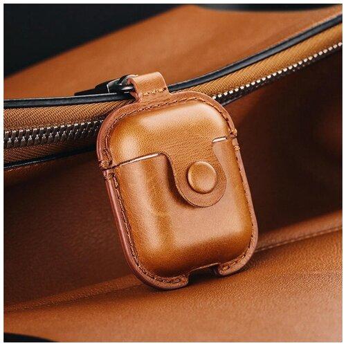 Кожаный чехол/Защитный чехол/Чехол для наушников/Противоударный чехол/для Apple/для AirPods/для AirPods 2/С карабином/С кнопкой, коричневый чехол