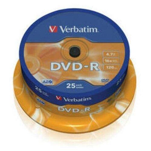 Фото - Диск DVD-R Verbatim 4.7 Gb, 16x, Cake Box (25), (25/200) носители информации dvd r 16x verbatim azo matt silver cake 25 43500