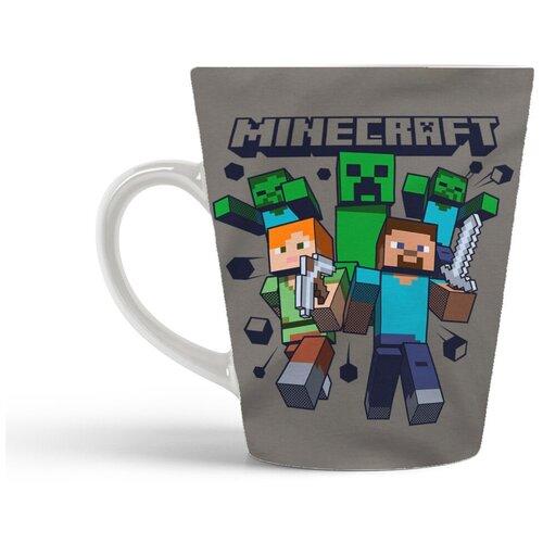 Кружка-латте CoolPodarok Майнкрафт Minecraft (серый фон)