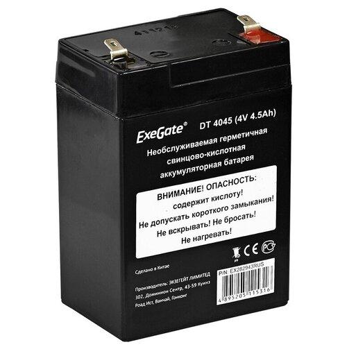Аккумулятор для ИБП ExeGate DT 4045 4V 4.5Ah клеммы F1 EX282943RUS аккумулятор для ибп delta dt 4045 47 4v 4 5ah