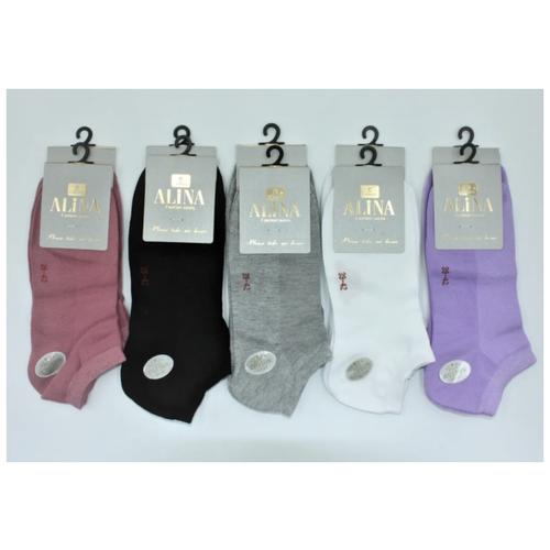 Носки ALINA ZB024, 10 пар, размер 39-42, розовый/черный/белый/фиолетовый/серый