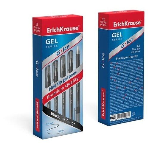 Ручка гелевая G-ICE, узел 0.5 мм, чернила чёрные, ErichKrause, Ручки  - купить со скидкой