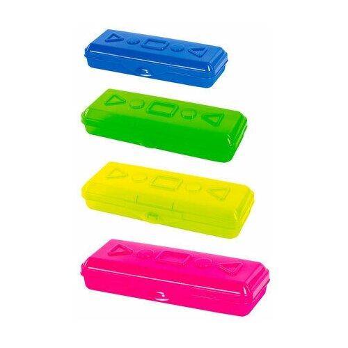 Купить Пенал пластиковый пифагор тонированный, ассорти 4 цвета, 20х7х4 см, 228113, Пифагор, Пеналы