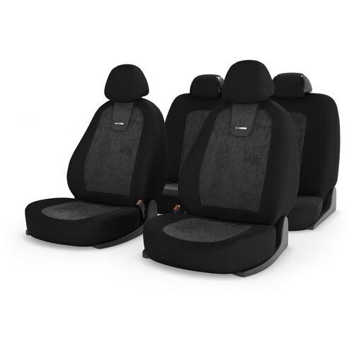 Универсальные чехлы на автомобильные сиденья CarFashion COLOMBO т.серый/черный/т.серый
