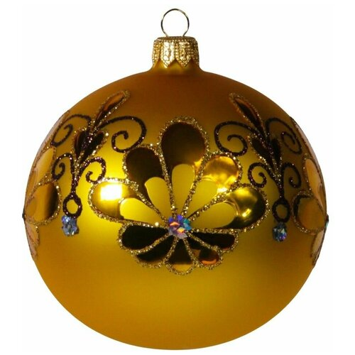 Елочный шар веер, 95 мм, золотой, Елочка
