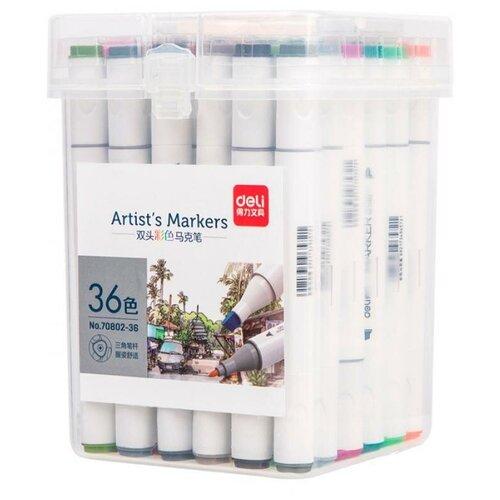 Купить Набор маркеров для скетчинга Deli 70802-36 двойной пиш. наконечник 36цв. пластиковая коробка 36шт., Фломастеры и маркеры
