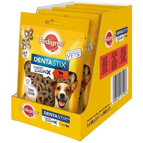 Фото - Лакомство по уходу за зубами Pedigree Denta Stix для собак мелких пород жевательные кусочки с говядиной 5 шт х 68 г pedigree pedigree ranchos лакомство для собак с говядиной 58 г