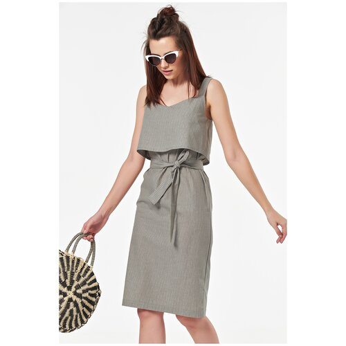 Платье FLY. размер 48, полоска на хаки