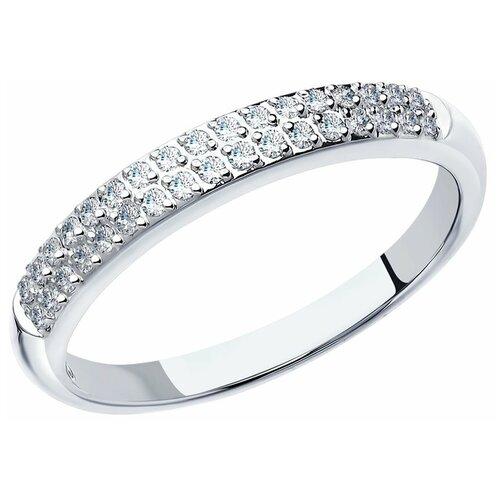 Фото - SOKOLOV Кольцо из белого золота c двумя дорожками бриллиантов 1010130, размер 15.5 кольцо золотое с рубином и дорожками бриллиантов sokolov