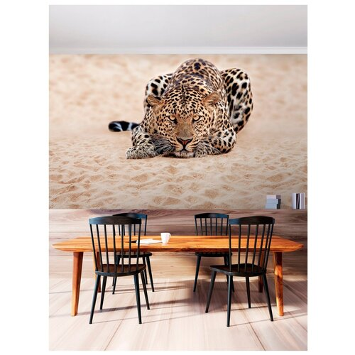 Фотообои Леопард на песке/ Красивые стильные обои на стену в интерьер комнаты/ 3Д расширяющие пространство/ На кухню в спальню детскую зал гостиную прихожую/ размер 300х180см/ Флизелиновые
