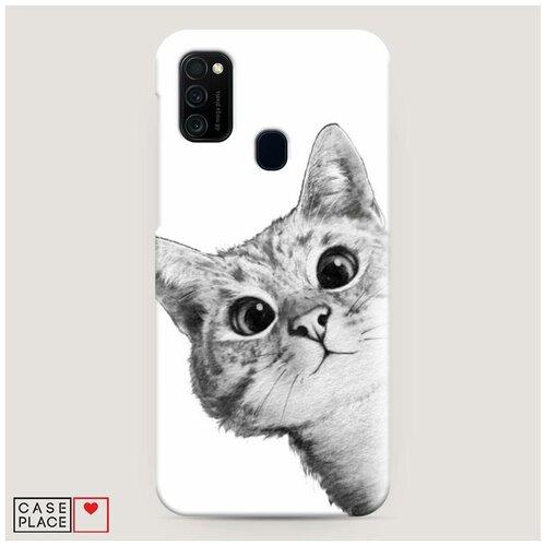 Чехол Пластиковый Samsung Galaxy M21 Кот рисунок черно-белый