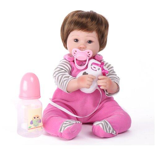 Reborn Kaydora Кукла Реборн мягконабивная (Reborn Cloth Body Doll 16 inch) Мальчик в розовом полосатом комбинезоне (40 см)