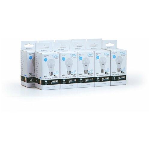 Упаковка ламп 10 штук Gauss LED Elementary A60 12W E27 1170lm 6500K 1/10/50