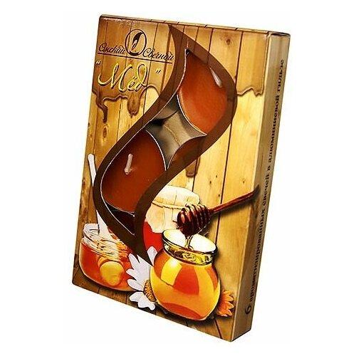 Набор ароматических свечей МЁД, 3.8х1.6 см (упаковка 6 шт.), Омский Свечной 001832-свеча