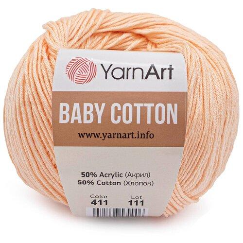 Фото - Пряжа YarnArt 'Baby Cotton' 50гр 165м (50% хлопок, 50% акрил) (411 светло-розовый), 10 мотков пряжа yarnart baby 50гр 150м 100% акрил 1182 коричневый 5 мотков