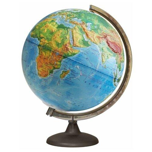 Глобус Земли физический рельефный с подсветкой, диаметр 250 мм, 10179