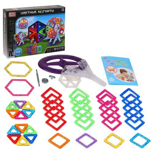 Купить Игрушка детская развивающая PLAY SMART Магнитный конструктор Цветные магниты , игрушка для малышей развивающая, развивает мышление, память, моторику, воображение, (в комплекте 46 деталей), в/к 34х8х26 см, Развивающие игрушки