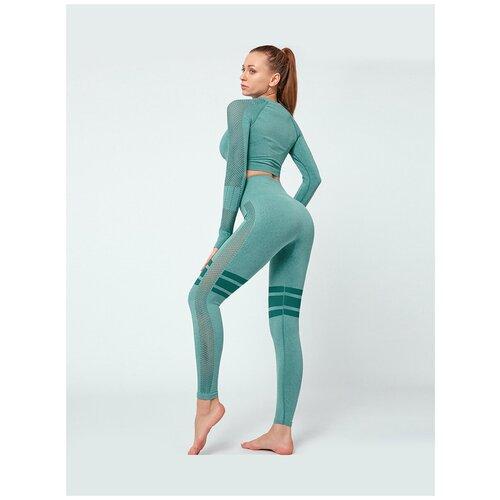 Спортивный костюм для йоги и фитнеса с сетчатыми вставками (тайтсы, рашгард) цвет мурена, размер M