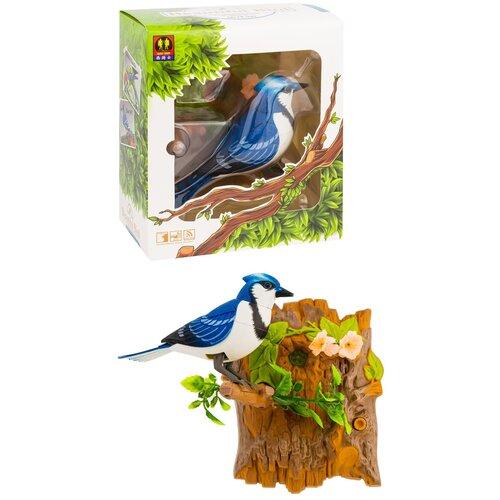 Птичка интерактивная для детей от 6-ти лет/Птичка сенсорная на дереве реагирует на движение,прикосновение/Синяя птичка подарочная на подвесной подставке свистит,щебечет ,машет крыльями,головой