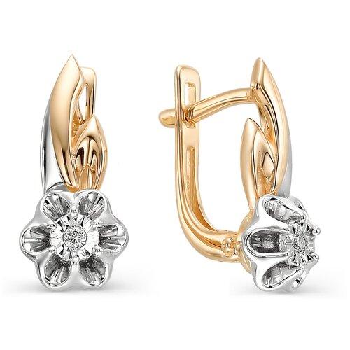 АЛЬКОР Серьги Цветы с 2 бриллиантами из красного золота 22567-100 алькор серьги цветы с 2 бриллиантами из красного золота 23613 100