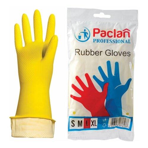 Фото - Перчатки хозяйственные латексные, х/б напыление, размер L (большой), желтые, PACLAN Professional, 3 шт. перчатки хозяйственные paclan виниловые размер l 10 шт