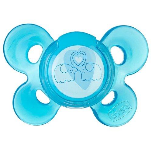 Фото - Пустышка силиконовая Chicco Physio Comfort Слоники, 6-12 месяцев, голубой chicco physio comfort пустышка силиконовая котики с 6 12 месяцев 1 шт