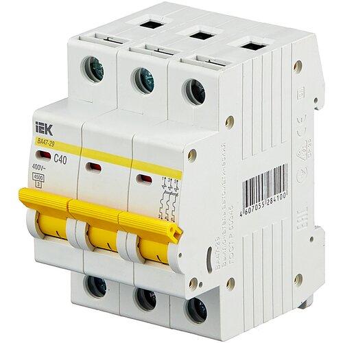 Автоматический выключатель IEK ВА 47-29 3P (C) 4,5kA 40 А автоматический выключатель iek ва 47 29 3p c 4 5ka 63 а