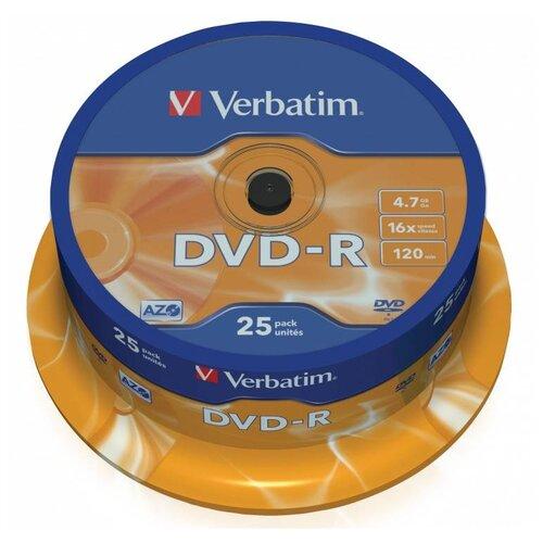 Фото - Диск DVD-R Verbatim 4.7Gb 16x Cake Box (25 штук) (43522) носители информации dvd r 16x verbatim azo matt silver cake 25 43500