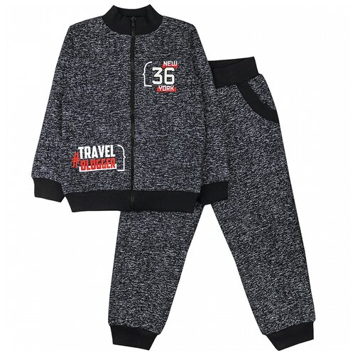 Спортивный костюм Юлала размер 104-110(60), черный меланж
