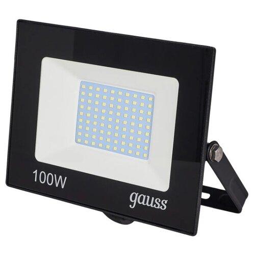 Прожектор, светодиодный уличный Gauss Basic 100 Вт 6500К IP65, цвет чёрный