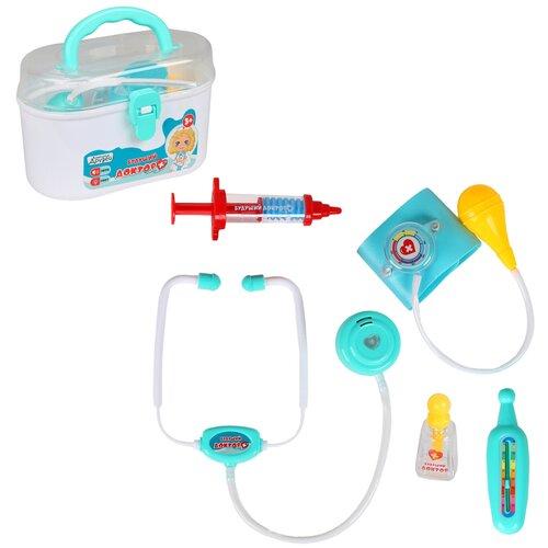 Купить Набор доктора детский Компания Друзей Будущий Доктор в чемодане со звуковыми и световыми эффектами, игровой набор врача, 5 предметов, стетоскоп, градусник, тонометр, капли, шприц, Играем в доктора