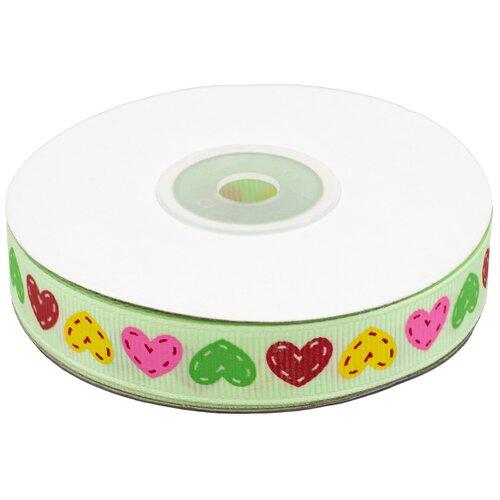 Купить Лента репсовая 'Сердечки' 1, 5см*22, 86м (св.зеленый), Astra & Craft, Декоративные элементы