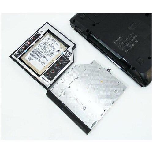 Салазки(переходник) в ноутбук для дополнительного жесткого диска (SSD/HDD) 12.7 мм в отсек вместо штатного CD/DVD SATA 12.7mm optibay с комплектом винтов, отверткой и заглушкой.
