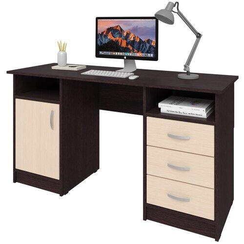 Фото - Письменный стол СитиМебель Хит-11, ШхГ: 140х50 см, цвет: венге цаво/дуб молочный письменный стол ситимебель компактный шхг 140х50 см цвет венге цаво