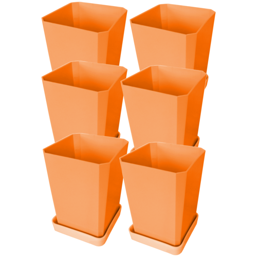 Набор горшков для рассады Пеликан 6 шт, 750 мл Оранжевый